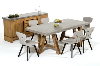 Modrest Civic Modern Concrete & Acacia Dining Table