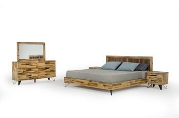 Modrest Sala Modern Light Wood Dresser & Mirror Set