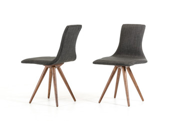 Modrest Tracer Modern Grey Fabric Dining Chair SET OF 2