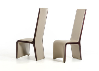 Modrest Pacer Modern Ebony and Taupe Dining Chair SET OF 2