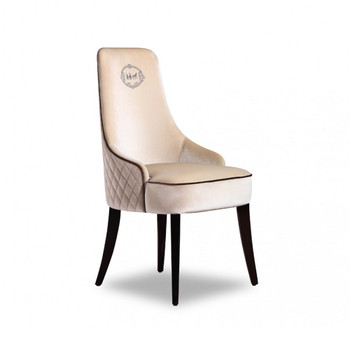 A&X Talin Modern Off-White Velour Dining Chair
