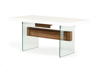 Modrest Sven Contemporary White & Walnut Floating Extendable Dining Table