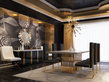 Modrest Kingsley Modern Marble & Rosegold Dining Table