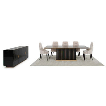 A&X Talin Modern Black & Rosegold Dining Set