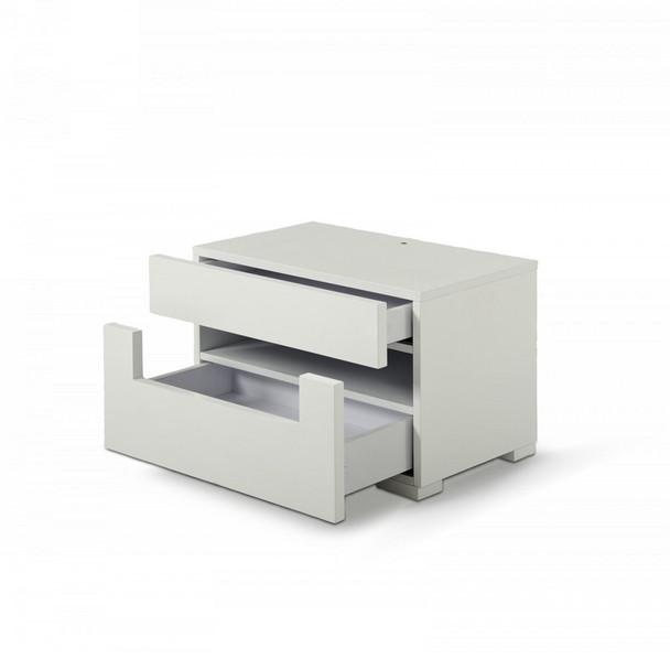 Modrest Ceres - Modern LED White Lacquer Nightstand