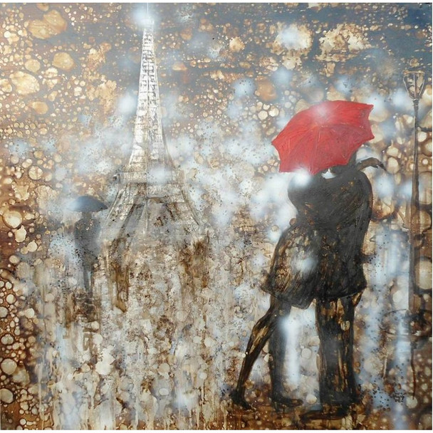 Modrest Rain Embrace Oil Painting - Eiffel Tower
