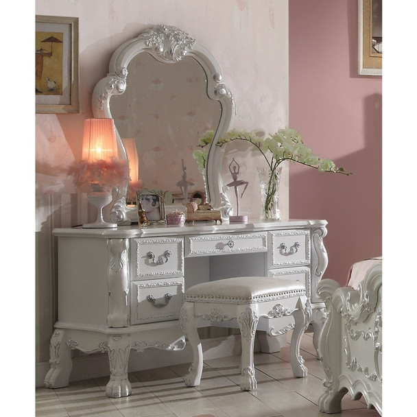 Dresden Antique White Vanity Desk