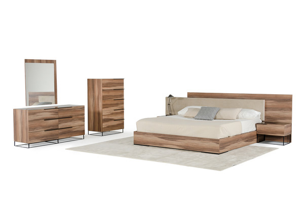 Nova Domus Matteo Italian Modern Walnut & Fabric Bedroom Set
