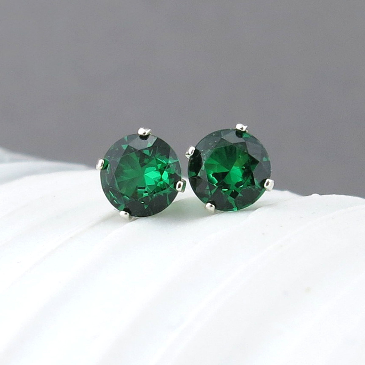 stud jewelry dichroic sterling emerald pin sparkling silver in glass fused handmade green earrings