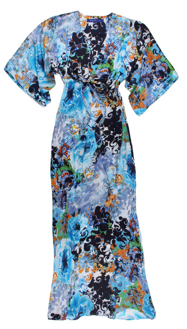 The Maxi Lounge  - Super soft and flowing with a kimono sleeve. You can wear it dressed up or casual. Easy and comfortable to slide into as it fits all shapes and sizes with a tie to cinch above the waist. This stunning print is fun to accessorize and dress it up with a beautiful sandal, or just your favorite flip flops. 100% Poly (Looks & feels like silk) Size 1 XXS/XS  Fits sizes 2-6 Size 2 S/M  Fits sizes 8-10 Size 3 L/XL Fits sizes 12-14 Size 4 XXL/XXXL Fits sizes 14/18
