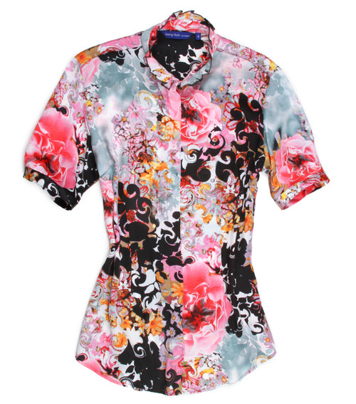 "Summer is almost here!  This is a light weight short sleeve with a banded collar embellished with a ruffled trim.  A dramatic floral print with colors of pinks, yellows, black, blue grey and a touch of white.  This is a great ""go to"" blouse to take you anywhere day or night....dress it up or dress it down you will love it. 100 European Poly Slightly shaped at the waist Short sleeve is banded just below the muscle"