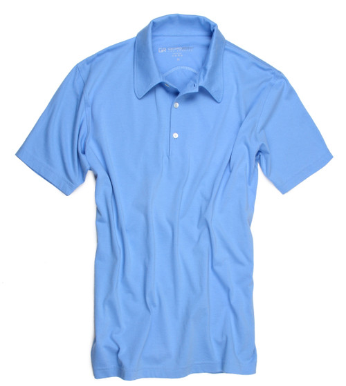 Luxury Polo Short Sleeves Pima Cotton Mens Polo Sky Blue POSS-5012