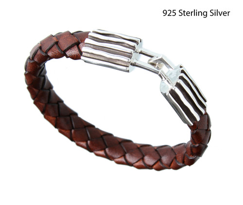 The Wave 925 Sterling Silver Bracelet with brown woven leather from Germany  Made in USA length: 9 inc wide: 15 millimeter