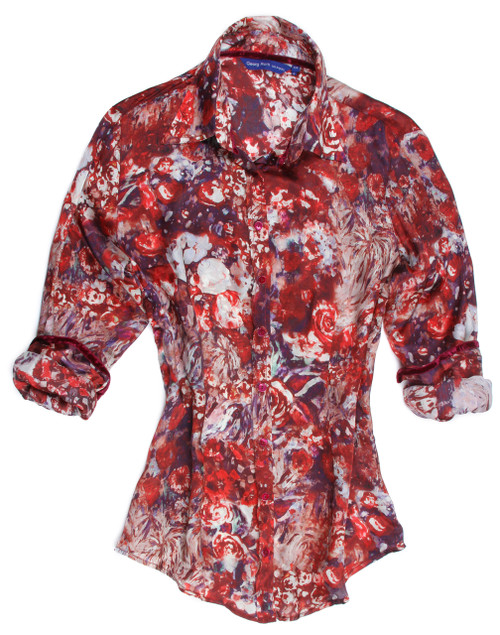 This is stunning!! Stunning and super soft.......you will love having this in your wardrobe.  Beautiful, exciting tones of reds, purples, and white with an embellishment on the cuff of a band of red and purple to create that extra special touch of fashion.   As always Georg Roth uses the finest of imported European 100% silks and this is no exception.   Dress it up with jewelry, a scarf or just as is ......this it a hit!  Don't miss out!  100% Silk