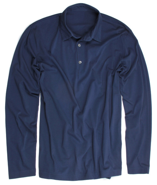Luxury Polo Long Sleeves Pima Cotton Mens Polo Indigo POLS-5019