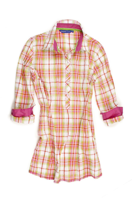 Summer fun, white, green & pink light weight madras plaid Tunic will take you anywhere this season. Casual and sporty, or dress it up with fun accessories and a pair of white pants. Detailed with a pink contrast fabric in the collar stand and cuffs. Finishing touch of a crushed velvet in green inside the collar stand. 100 % Cotton  Fingertip length