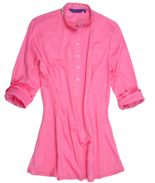 Women's Plus sizes. So soft and feel good stunning pink solid Tunic.  Slightly more relaxed fit.  Trimmed inside the collar stand, cuffs and inside placket with a multi color coordinating fabric. 100 Cotton
