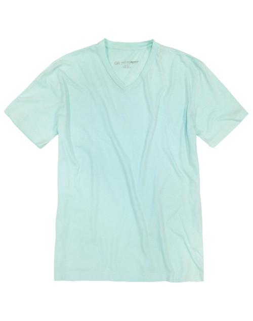 Luxury V-Neck Short Sleeves Pima Cotton Mens Tshirt Mint TVSS-6034
