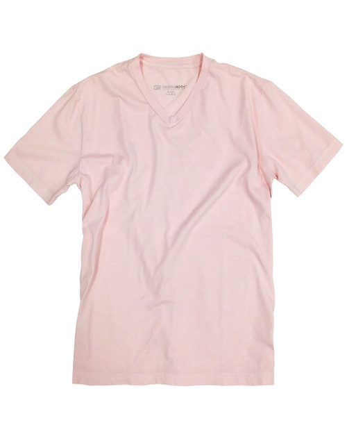 Luxury V-Neck Short Sleeves Pima Cotton Mens Tshirt Pink TVSS-3015