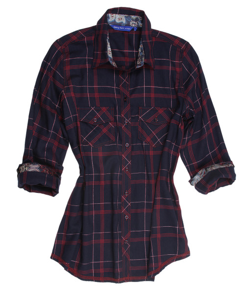 Vivianna B22011-723 Long Sleeves Soft Plaid Women Blouse