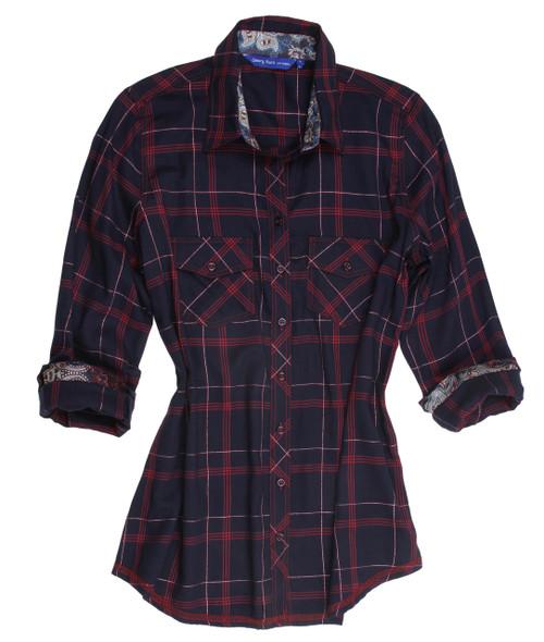 Vivianna Plus Size B22011-723 Long Sleeves Soft Plaid