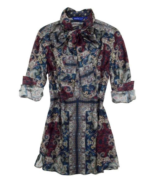Agnes B15028-703 Long Sleeve 100 Silk Tunic w/ Detachable Scarf