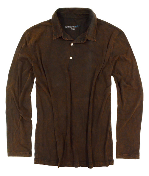 Luxury Polo Long-Sleeves Pima Cotton Mens Polo Garment Dyed Brown POLS-8014