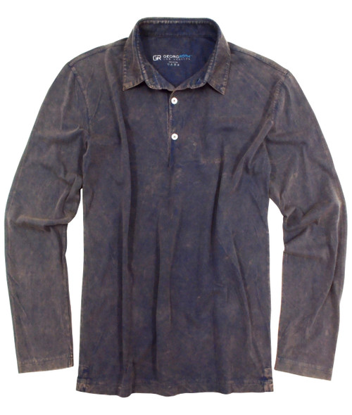 Luxury Polo Long Sleeves Pima Cotton Men's Indigo Garment Dyed