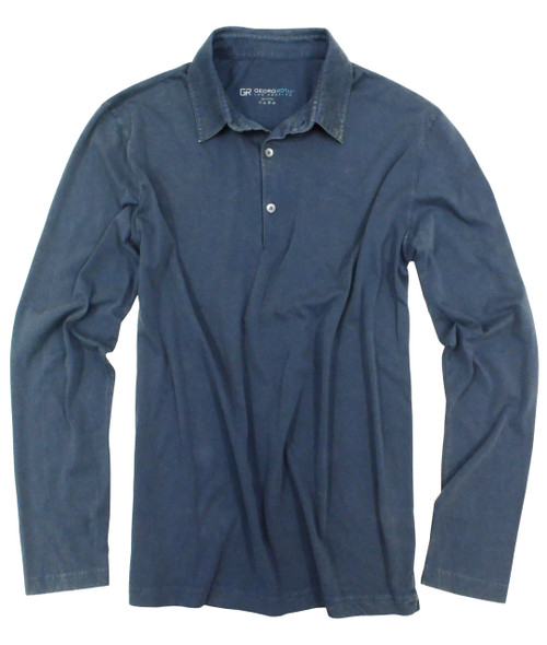 Luxury Men's Polo Long Sleeves Garment Dyed Indigo