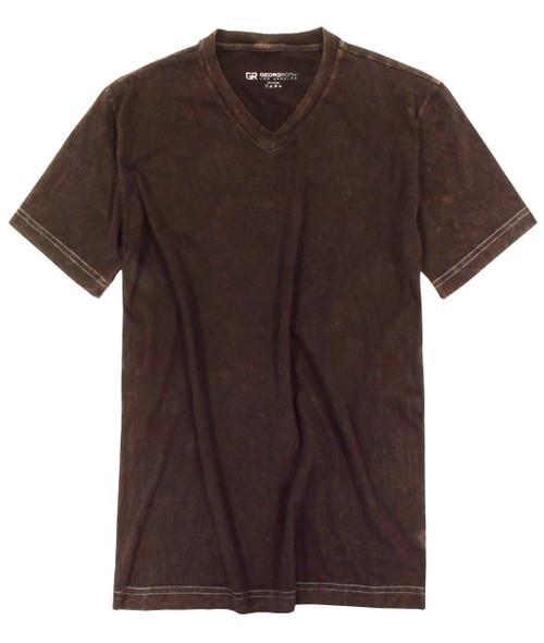 Luxury V-Neck Short Sleeves Pima Cotton Mens Tshirt Garment Dyed Brown TVSS-8014 GRLA