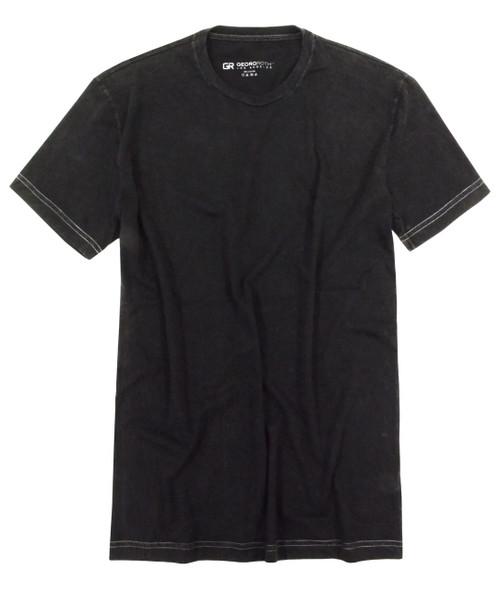 Luxury Georg Roth Crew-Neck Short Sleeves Mens T-Shirt Garment Dyed Black TCSS-9004
