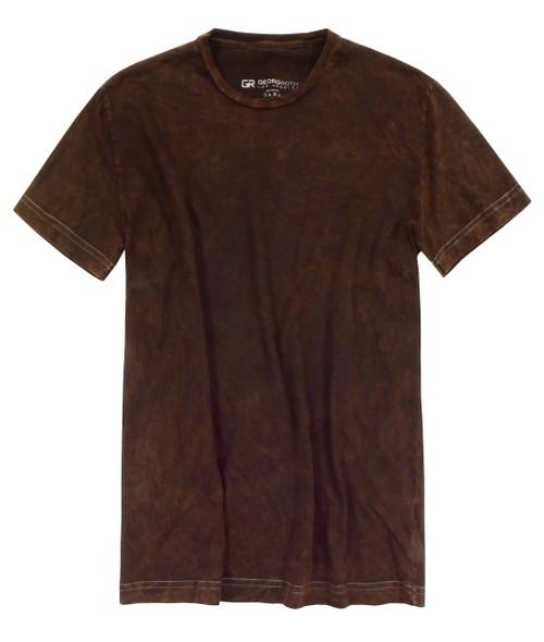 Luxury Crew Neck Short Sleeves Garment Dyed Pima Cotton Mens Tshirt Brown TCSS-8014
