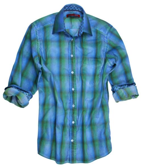 Duesseldorf-18015W-050-Long-Sleeves Garment Dyed Cotton Men Shirt