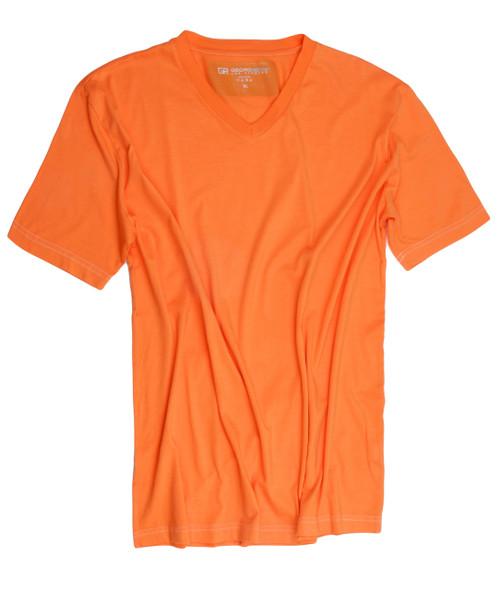 Luxury V-Neck Short Sleeves Pima Cotton Mens TShirt Orange-TVSS-2009