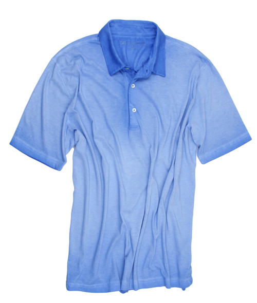 Luxury Polo Short Sleeves Pima Cotton Mens Polo Garment Dyed Blue Lagoon POSS-5027