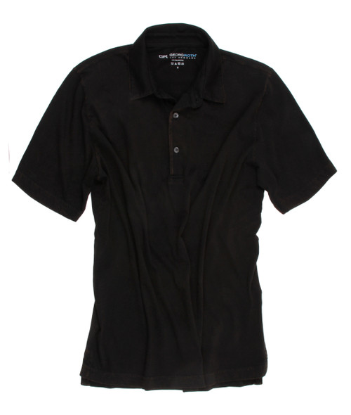 Luxury Polo Short Sleeves Pima Cotton Mens Polo Garment Dyed Black POSS-9004