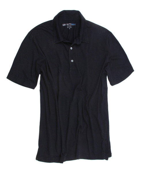 Luxury Polo Short Sleeves Pima Cotton Mens Polo Garment Dyed Navy POSS-5004