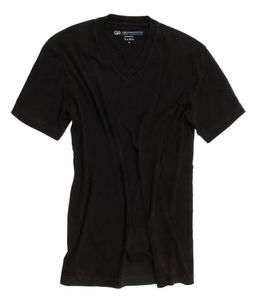 Luxury V-Neck-Short Sleeves Pima Cotton Mens Tshirt Garment Dyed Black-TVSS-9004