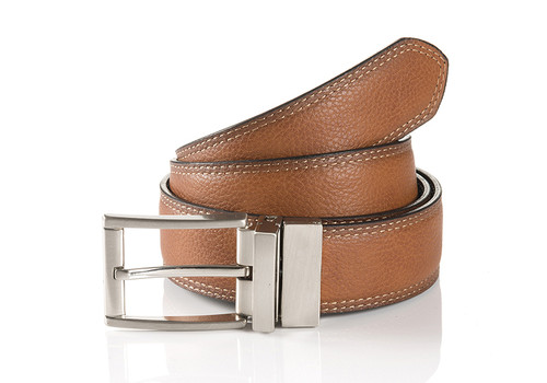 Rom 36640-0012-9005 Reversible belt Cognac/Black with satin nickle buckle