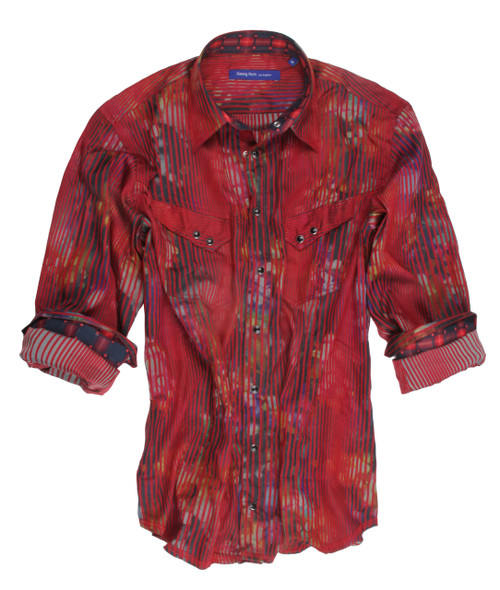 70041-001-Long-Sleeves-Cotton-Men's-Shirt with Snaps