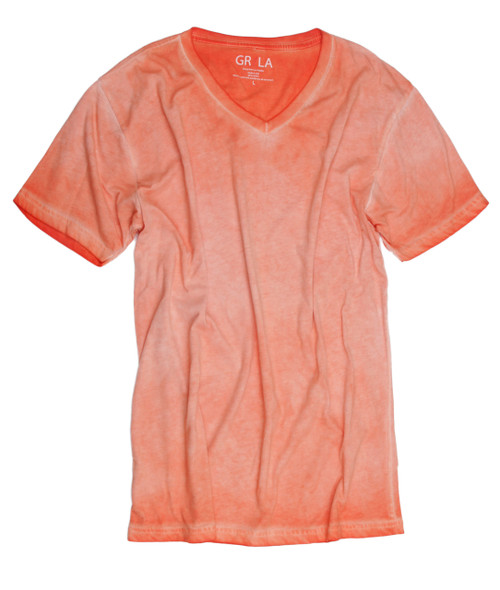 GRLA-V-2009-Orange-Short-Sleeves-Garment Dyed-T-Shirt