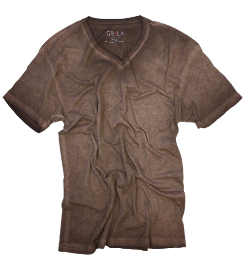 GRLA-V-8025-Coffee-Short-Sleeves-dyed washed-T-Shirt
