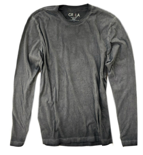 Men's Long Sleeves T-Shirt Color Basalt Grey / Garment Dyed Sizes S - XXL 100% Cotton
