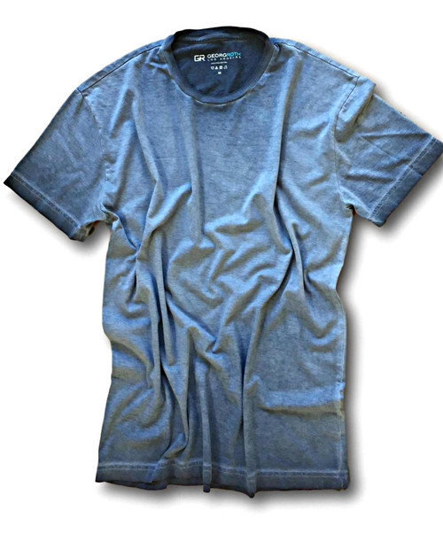 Luxury Crew-Neck-Short Sleeves Pima Cotton Mens T-shirt Garment Dyed Blue Brilliant TCSS-5007
