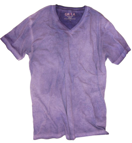 GRLA-V-4011-Purple-Short-Sleeves-dyed washed-V-Neck-T-Shirt