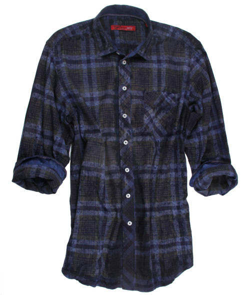 18000W-051-Long Sleeves Garment Dyed Men Shirt