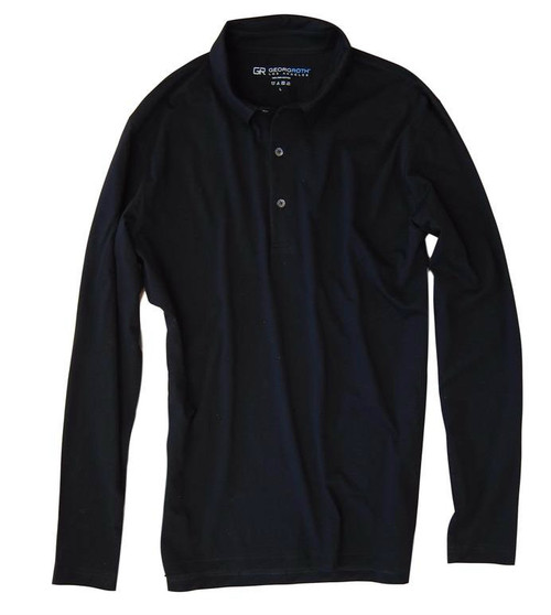 LUXE PIMA LONG SLEEVE POLO BLACK POLS9005