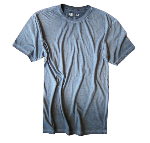 Men's Short Sleeves Crew T-Shirt Color Capri Blue / Garment Dyed 60% Cotton / 40% Polyeste