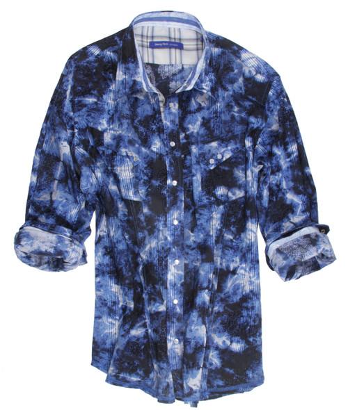 Salzburg 8069-005 Long Sleeves flocked overlay Mens Snap Shirt