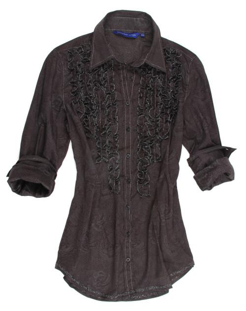 Georg Roth Women's B9037-706 Long Sleeves Ruffles Printed Blouse